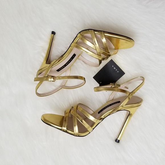 79ab1931f5be Zara Laminated Strappy Gold Heels 6.5 37